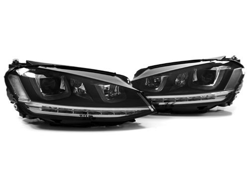 MK7 Golf Projection Headlights - Double U LEDs - Chromed Stripe
