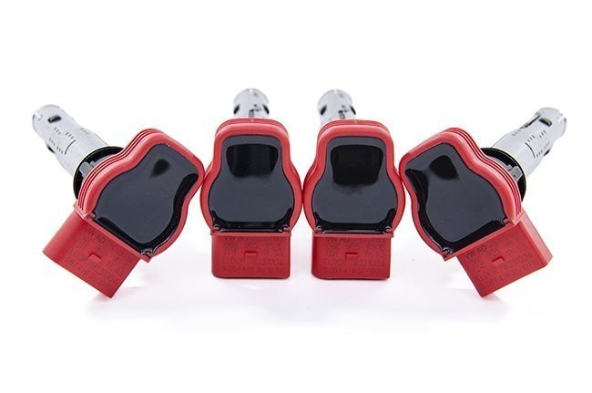OEM Ignition Coil Packs Set of 4 (RED) For VW / Audi