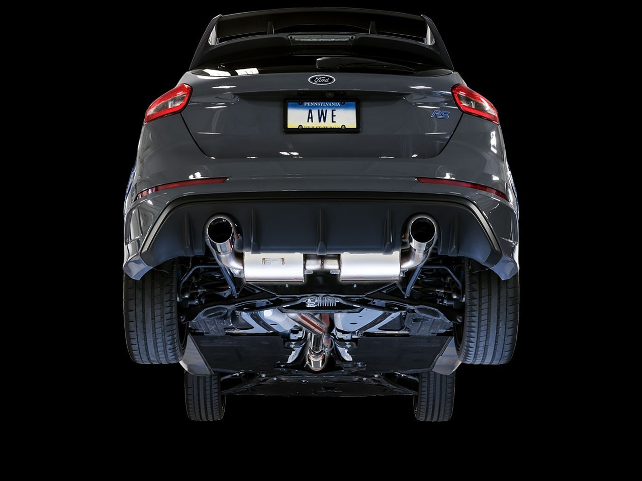 AWE Touring Edition Cat-back Exhaust for Ford Focus RS- Resonated - Chrome Silver Tips