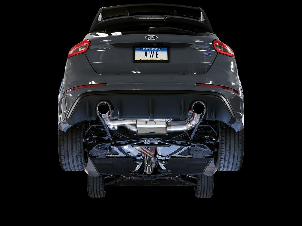 AWE SwitchPath Cat-back Exhaust (with Remote) for Ford Focus RS - Chrome Silver Tips