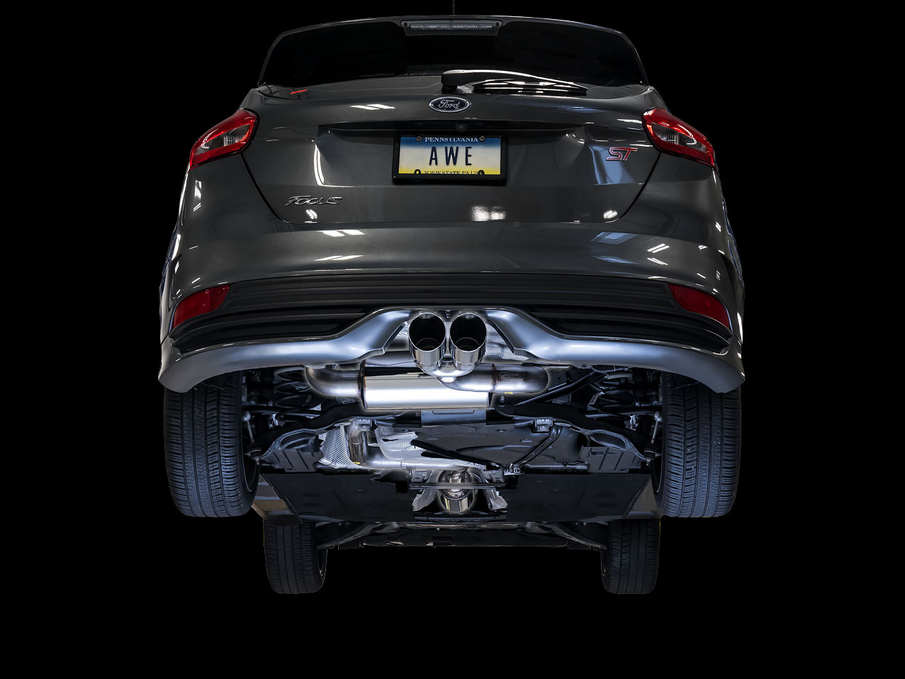 AWE Touring Edition Cat-back Exhaust for Ford Focus ST - Resonated - Chrome Silver Tips