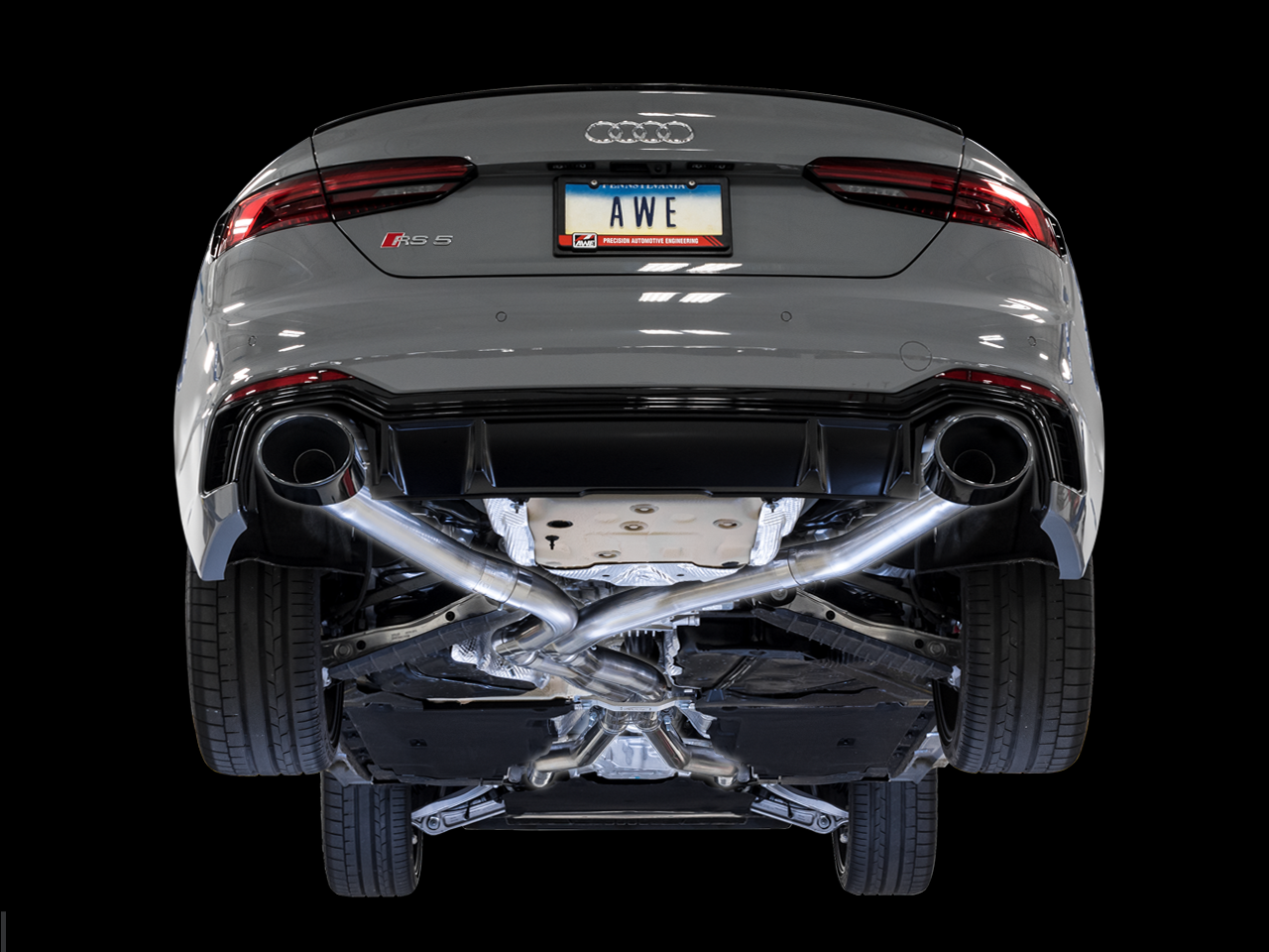 AWE Track Edition Exhaust for Audi B9 RS 5 Coupe - Non-Resonated - Diamond Black RS-style Tips