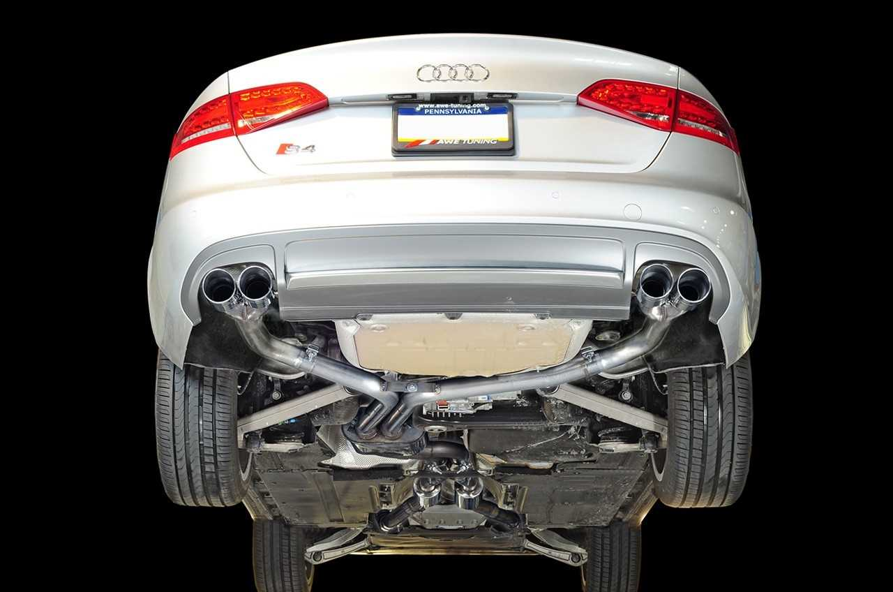 AWE Tuning Track Edition Exhaust and Non-Resonated Downpipe System - Diamond Black Quad Tips (90mm) For Audi S4 3.0T