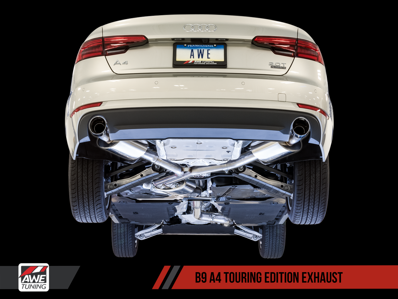 Touring Exhaust, Dual Outlet - Chrome Silver Tips For AWE Tuning B9 A4