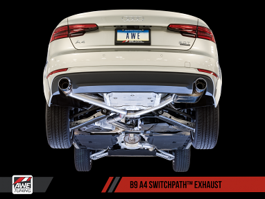 SwitchPath Exhaust, Dual Outlet - Diamond Black Tips For AWE Tuning B9 A4