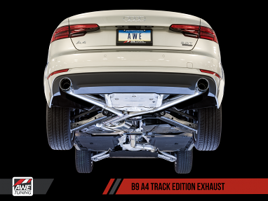 Track Exhaust, Dual Outlet - Chrome Silver Tips For AWE Tuning B9 A4