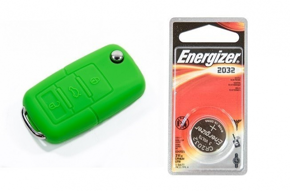 Silicone Key Fob Jelly w/ Battery (Green) - 2032