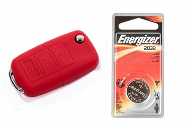 Silicone Key Fob Jelly w/ Battery (Red) - 2032