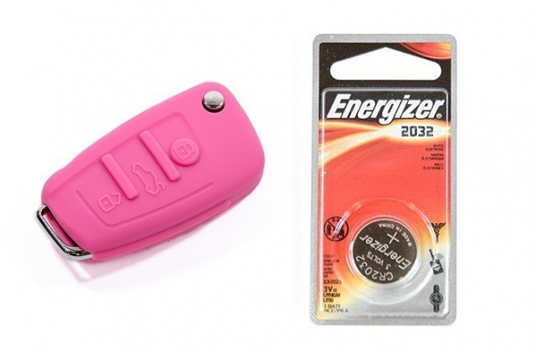 Audi Silicone Key Fob Jelly w/ Battery (Pink) - 2032