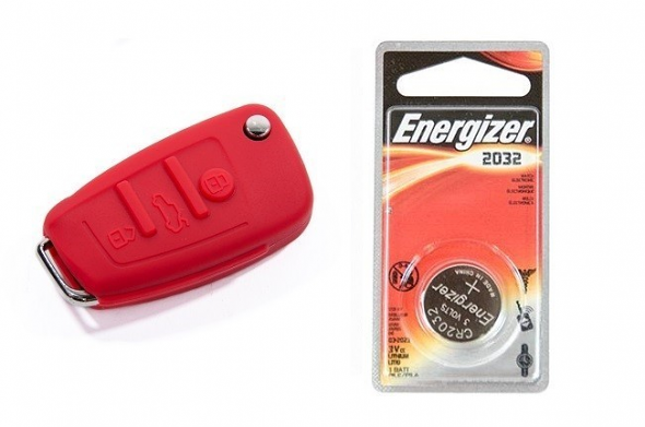 Audi Silicone Key Fob Jelly w/ Battery (Red) - 2032