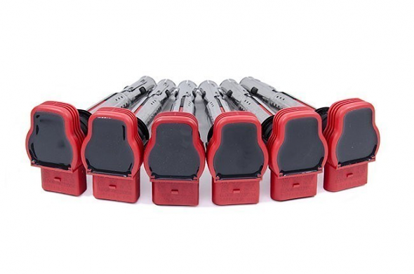 """OEM Audi Ignition Coils Set of 6 """"Red"""" For 2.7T"""