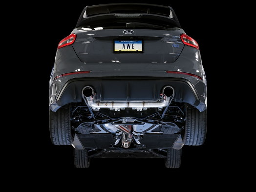 AWE Track Edition Cat-back Exhaust for Ford Focus RS - Chrome Silver Tips