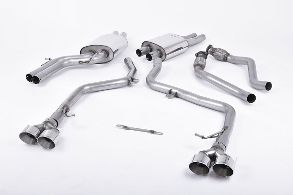 Milltek Non-Resonated Catback Race Exhaust For Audi S4 & S5 - Polished Tips