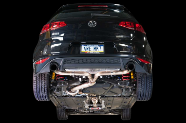 AWE Tuning Track Edition Exhaust - Diamond Black Tips For VW MK7 GTI