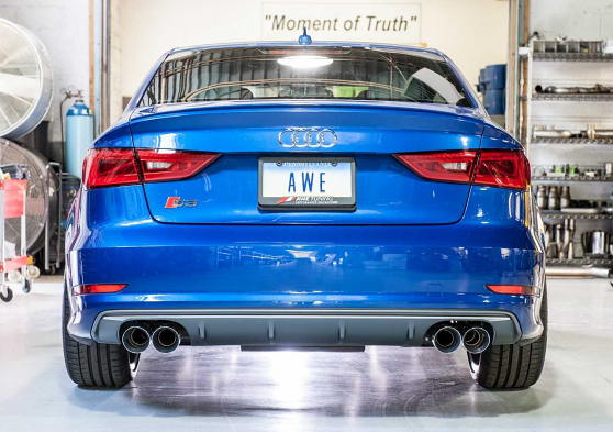 AWE Tuning SwitchPath Exhaust with Chrome Silver Tips, 90mm For Audi S3
