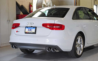 AWE Tuning Touring Edition Exhaust and Resonated Downpipe System - Chrome Silver Quad Tips (102mm) For Audi S4 3.0T