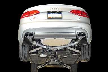 AWE Tuning Track Edition Exhaust and Resonated Downpipe System - Chrome Silver Quad Tips (90mm) For Audi S4 3.0T
