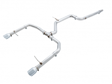 AWE Track Edition Non-Resonated Exhaust For VW MK7 Jetta GLI - Chrome Silver Tips