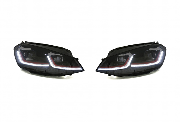 RFB MK7.5 Style Projector Headlights For VW MK7 GTI/Golf - Red Trim